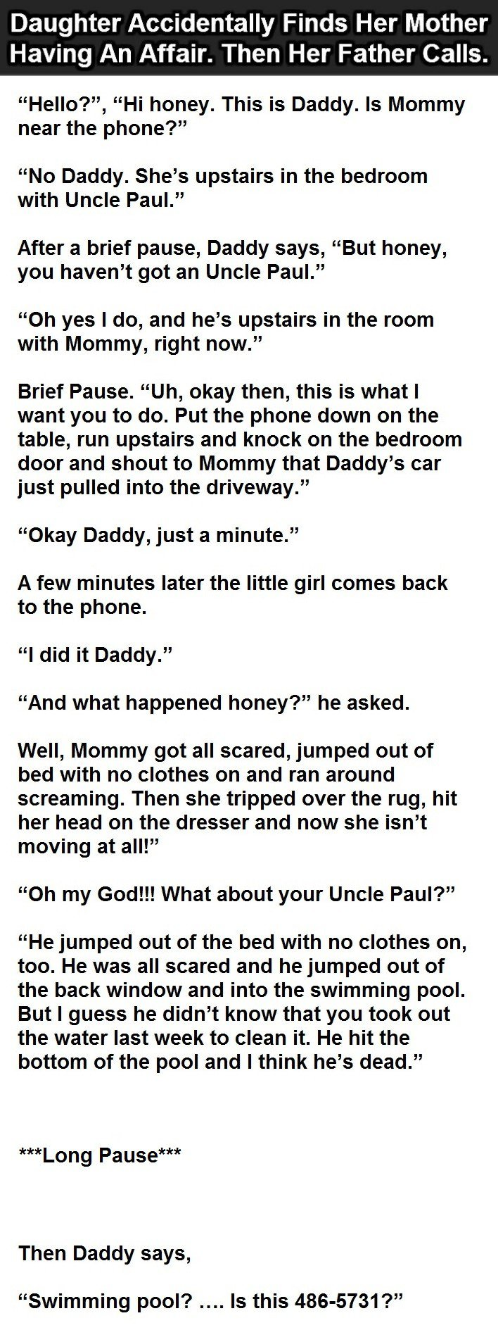 Daughter Accidentally Finds Her Mother Having An Affair. This Is Priceless.