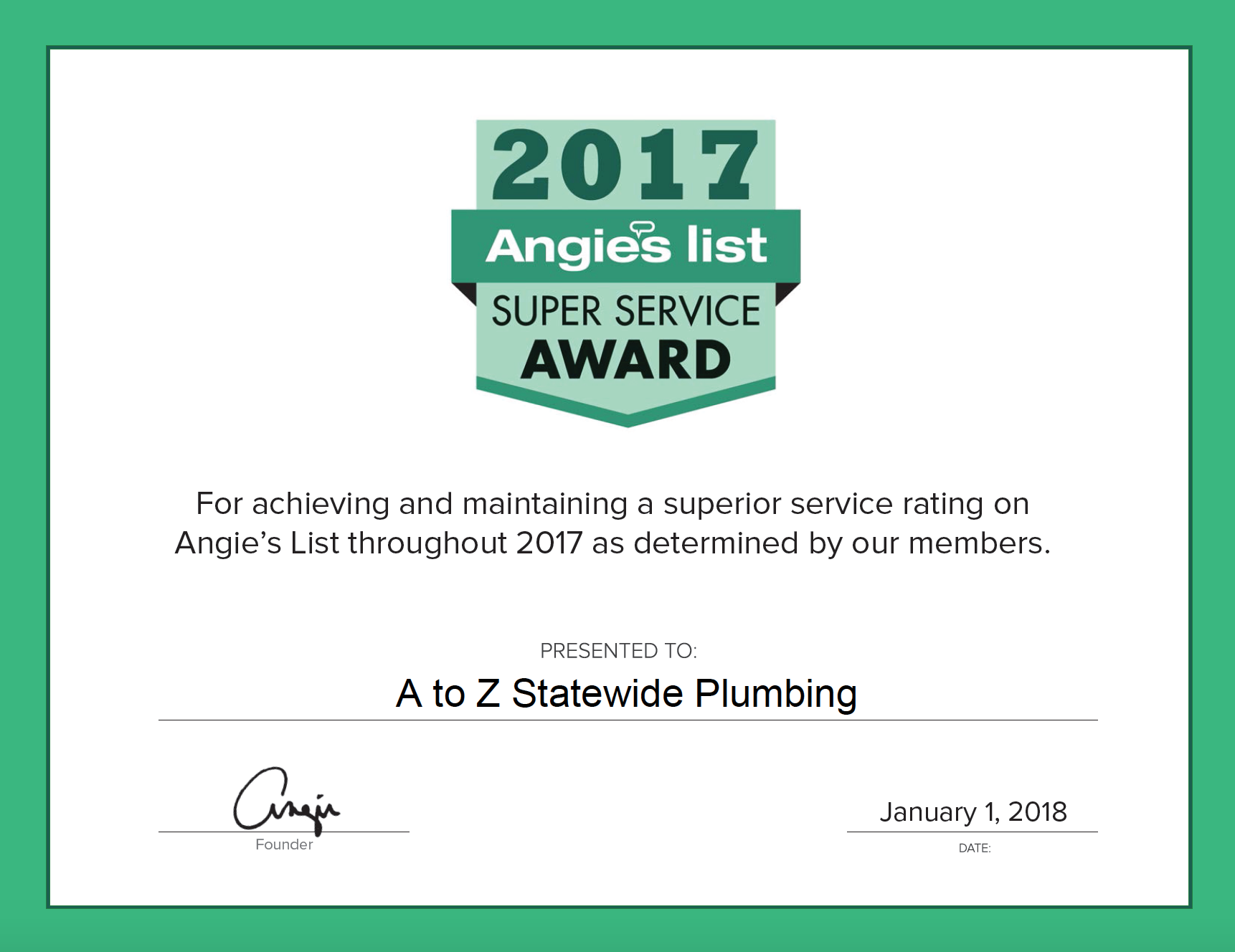 A to Z Statewide Plumbing Earns Esteemed 2017 Angie's List Super Service Award
